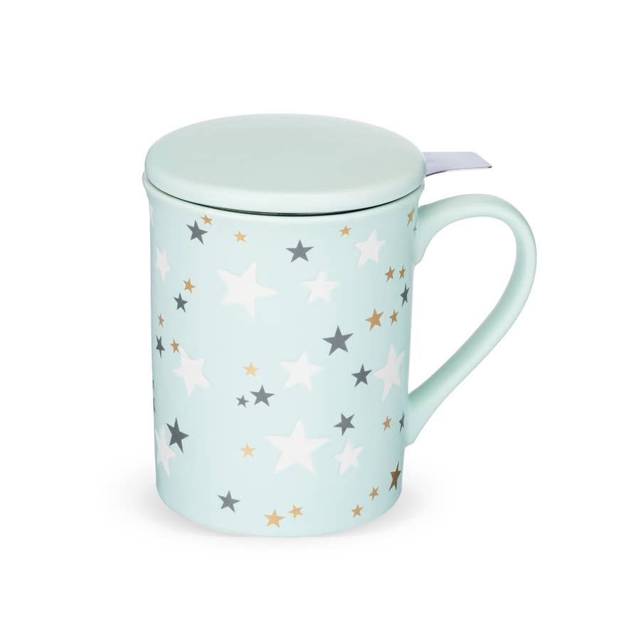 Annette Stars Mint Ceramic Tea Mug & Infuser