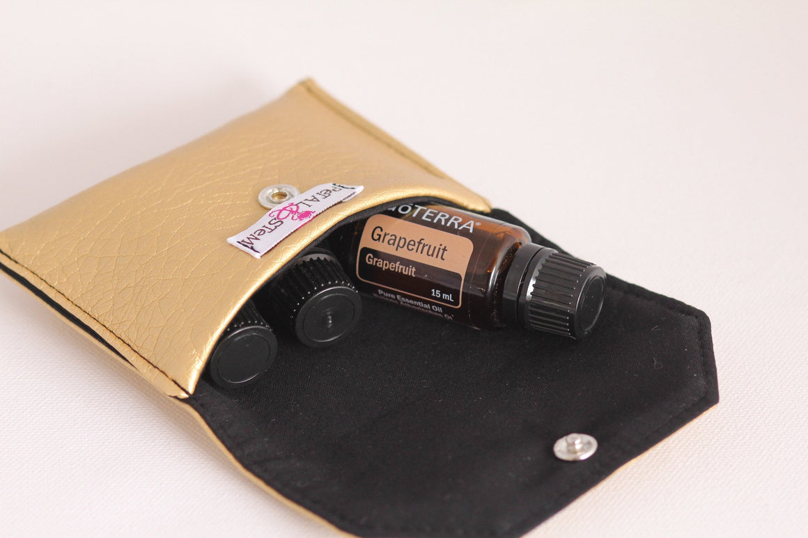 Essential Oil Bag (small) Gold faux leather look - Holds your most important oils - Petal and Stem