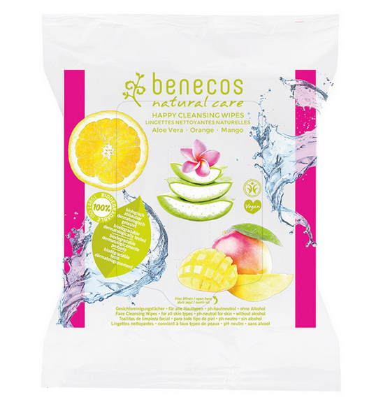 Natural Cleansing Wipes Aloe Vera, Orange, Mango - Benecos