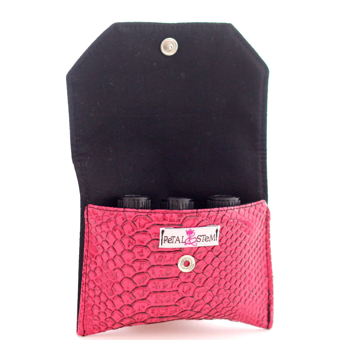 Essential Oil Bag (small) Snake Skin Faux Deep Pink - Holds your most important oils - Petal and Stem