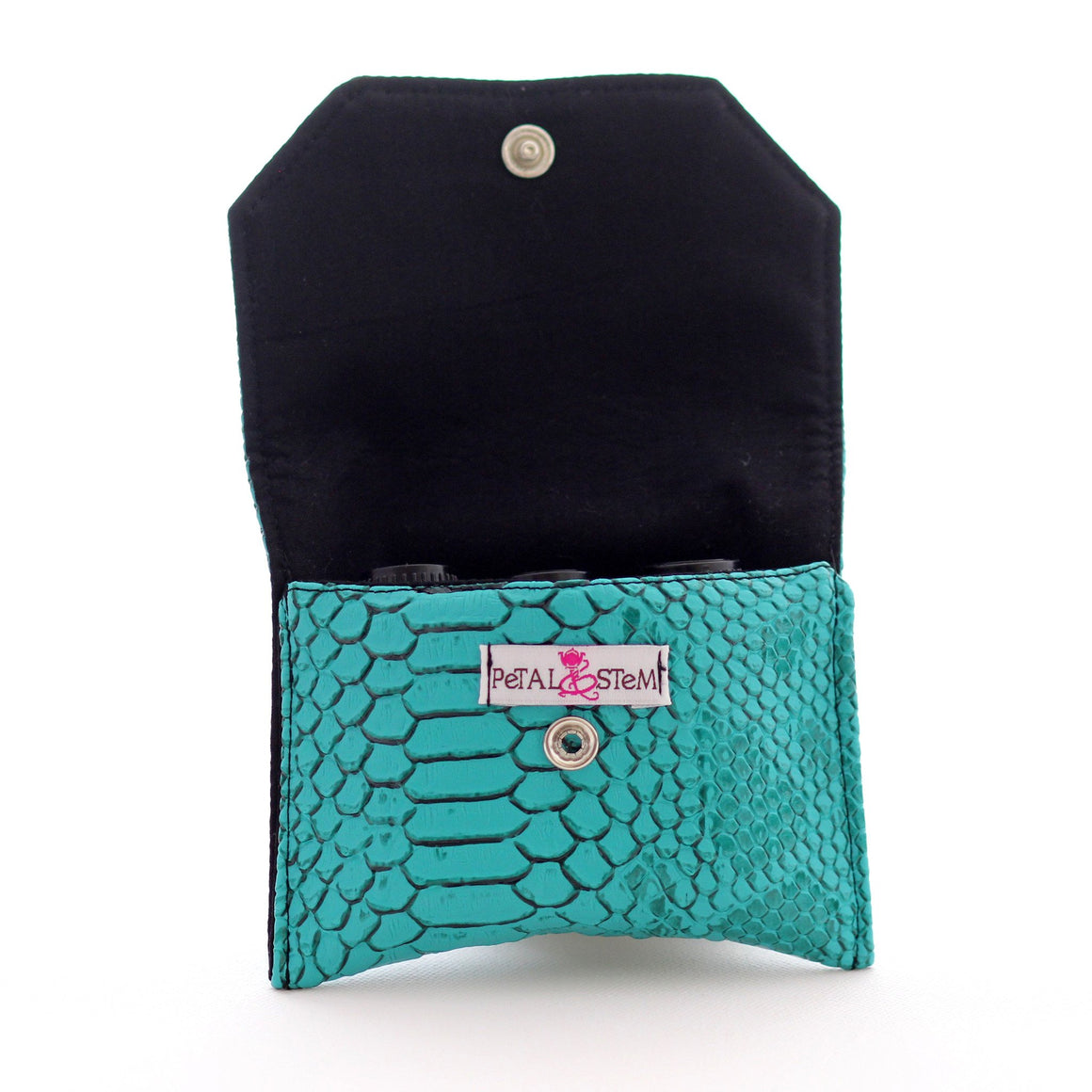 Essential Oil Bag (small) Snake Skin Faux Turquoise - Holds your most important oils - Petal and Stem