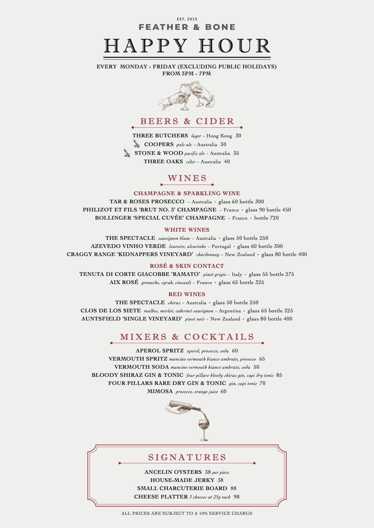 Feather & Bone Happy Hour Menu with Beers, Wines and Cocktails