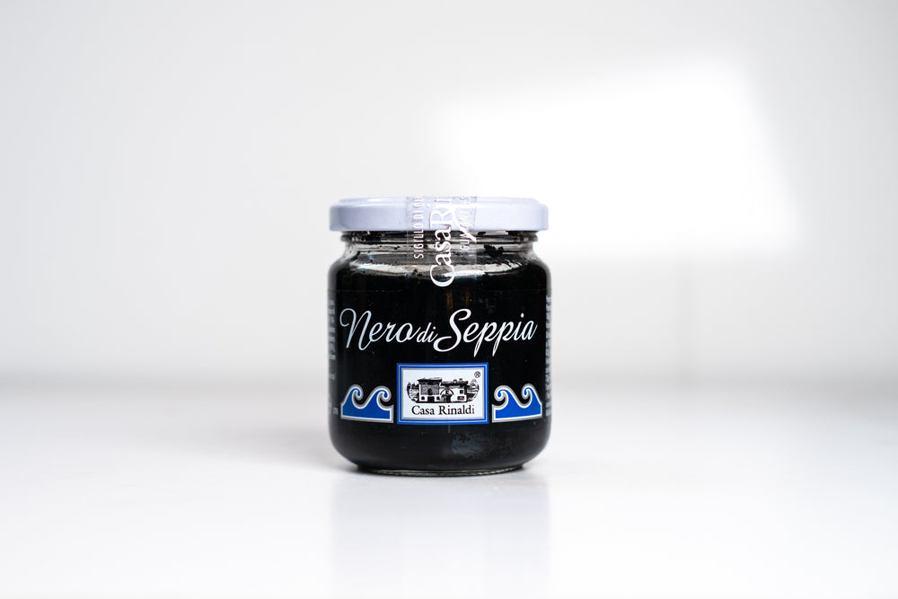 A glass jar of Casa Rinaldi Squid Ink 180g.