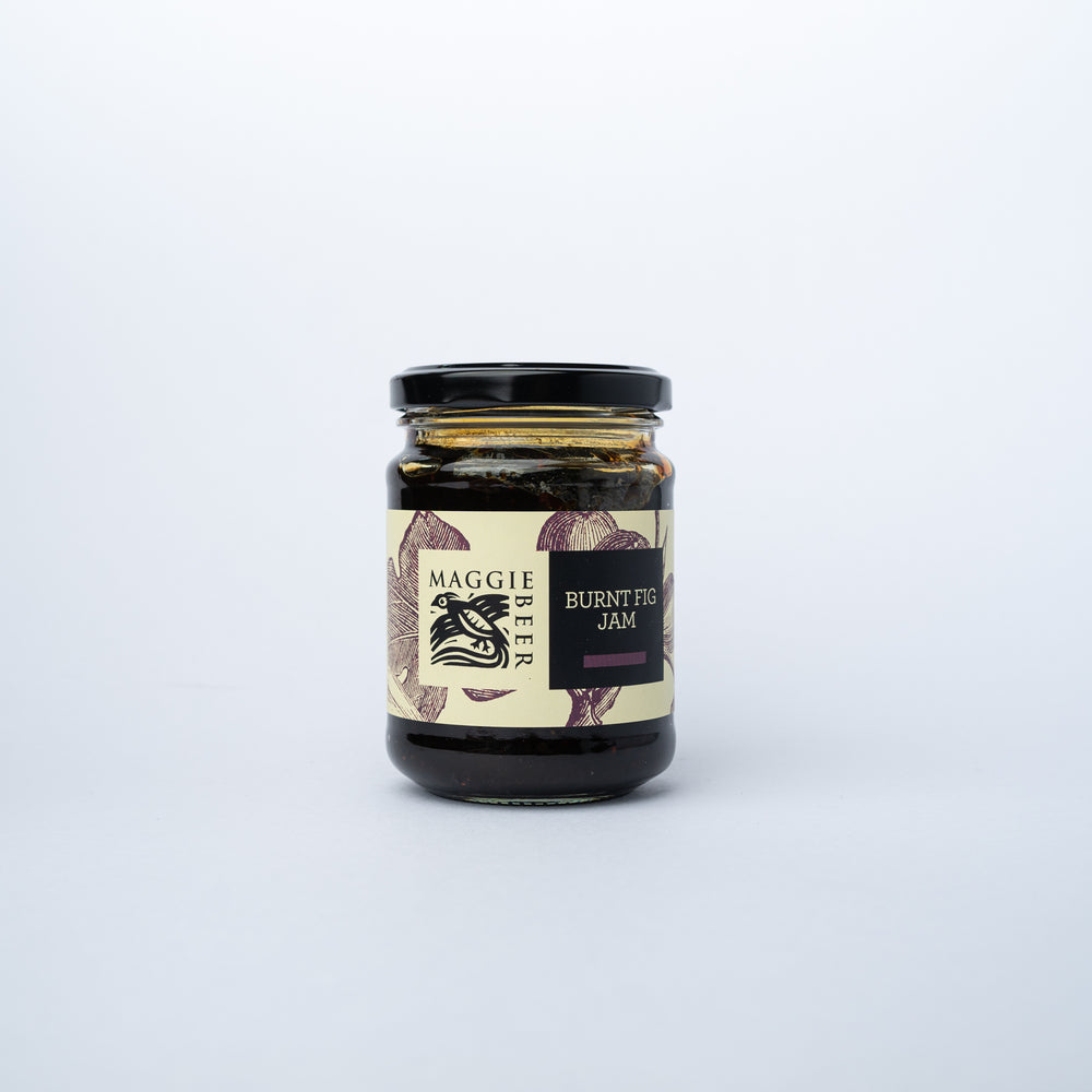 A jar of Maggie Beer Burnt Fig Jam 285g.