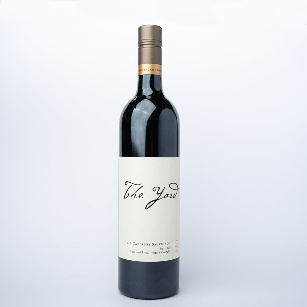 A 750ml glass bottle of 	 The Yard Cabernet Sauvignon 2018 red wine.