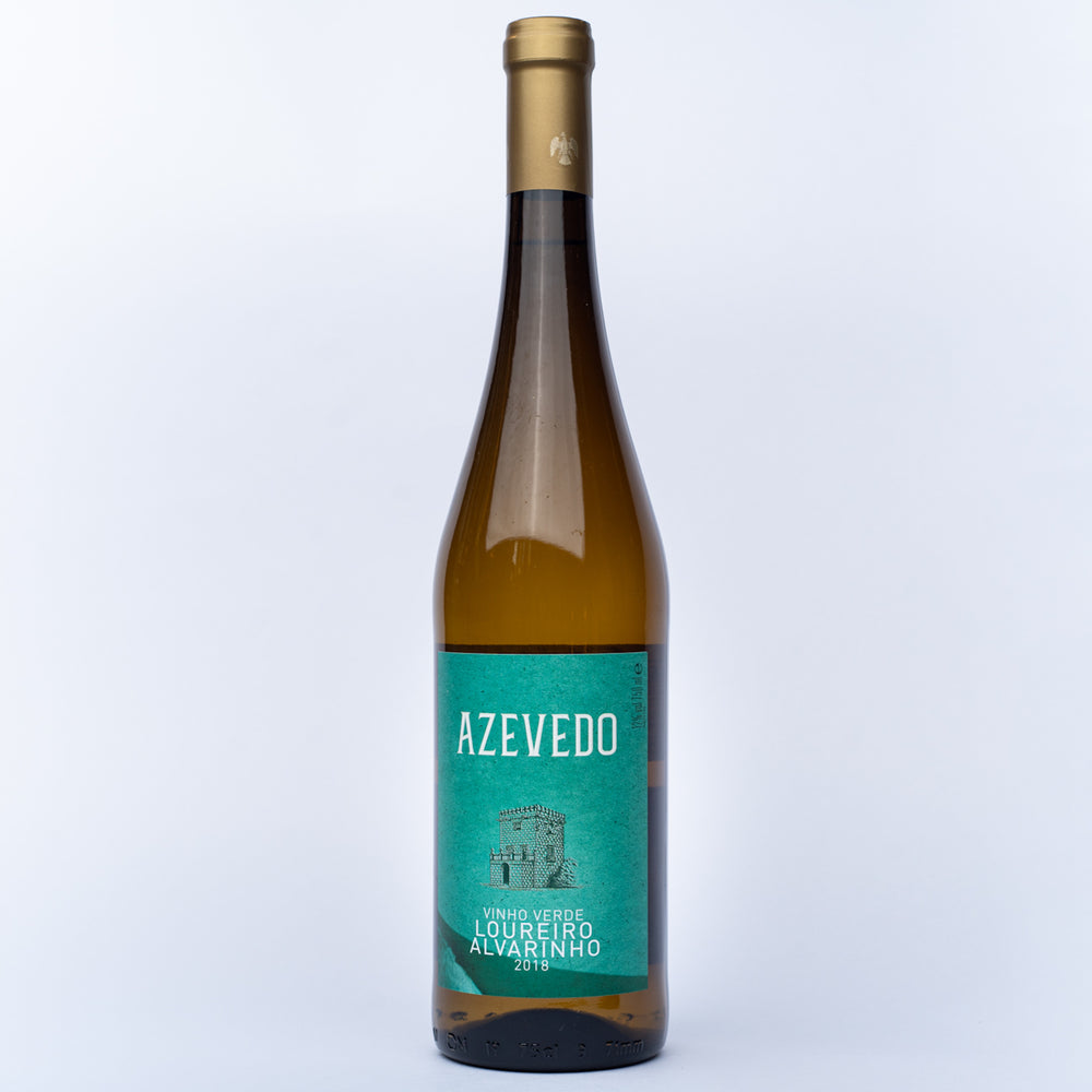 A glass bottle of Quinta de Azevedo Vinho Verde white wine.