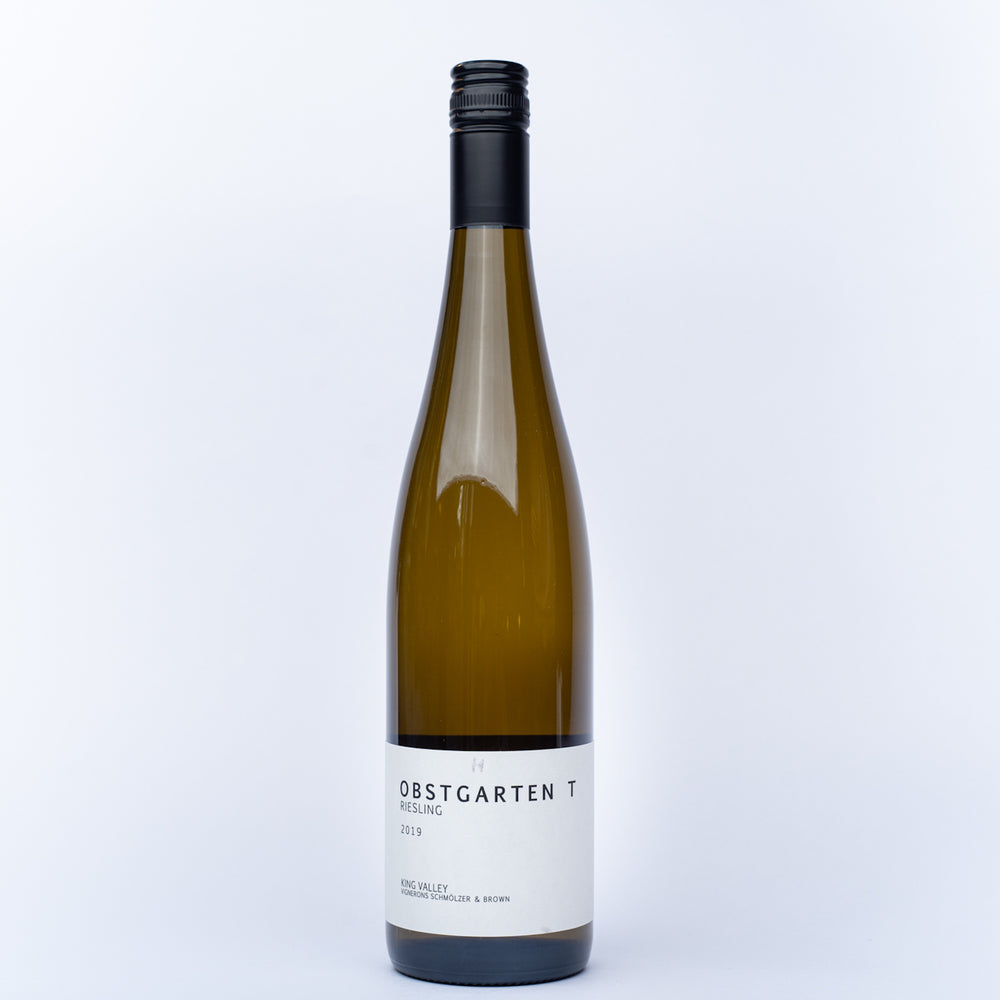 A tall bottle of Vignerons Schmölzer & Brown 'Obstgarten T' Riesling white wine.