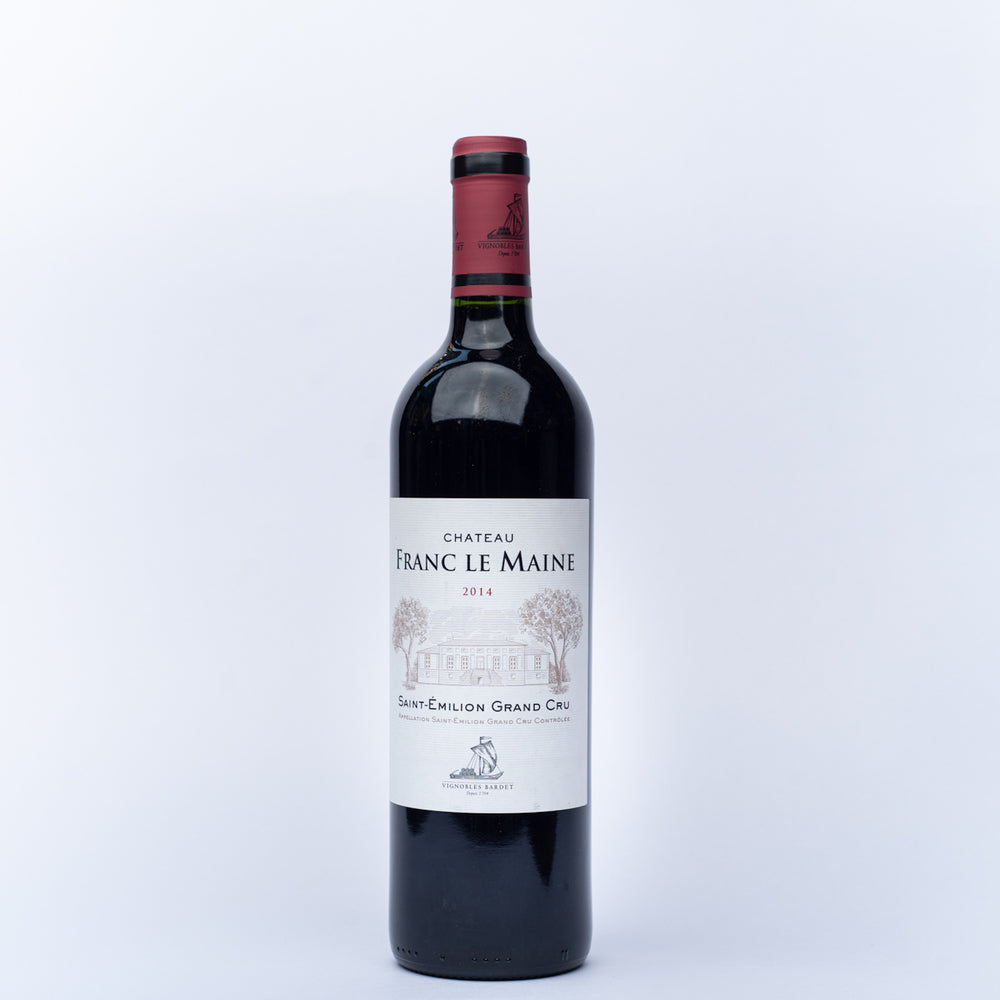 A 750ml bottle of Chateau Franc Le Maine red wine.