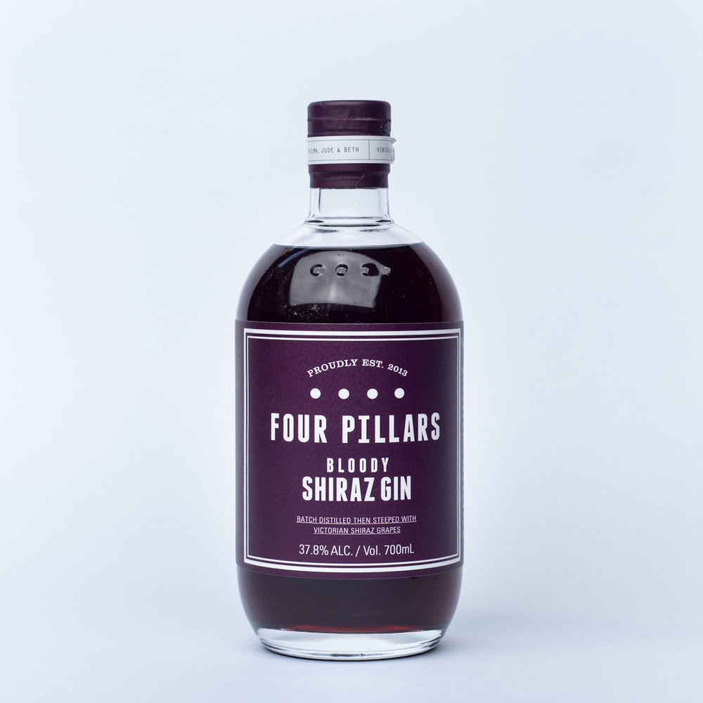 A bottle of Four Pillars Bloody Shiraz Gin.