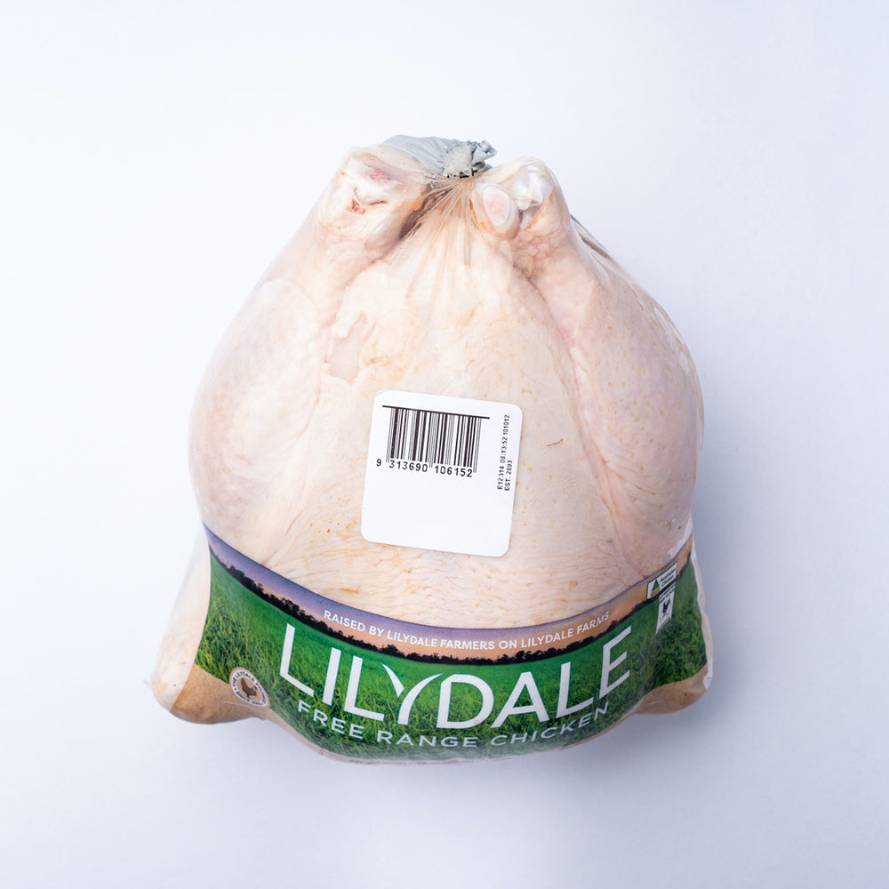 A 1.5kg lilydale chicken in a plastic bag with a green label.