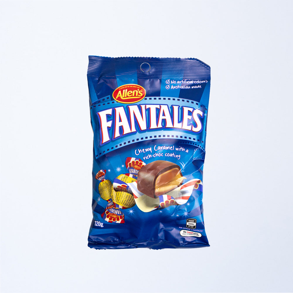 a 120g bag of allen's fantales candies.