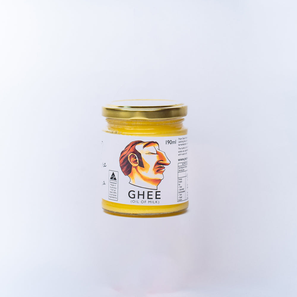 A jar of Pepe Saya Ghee.