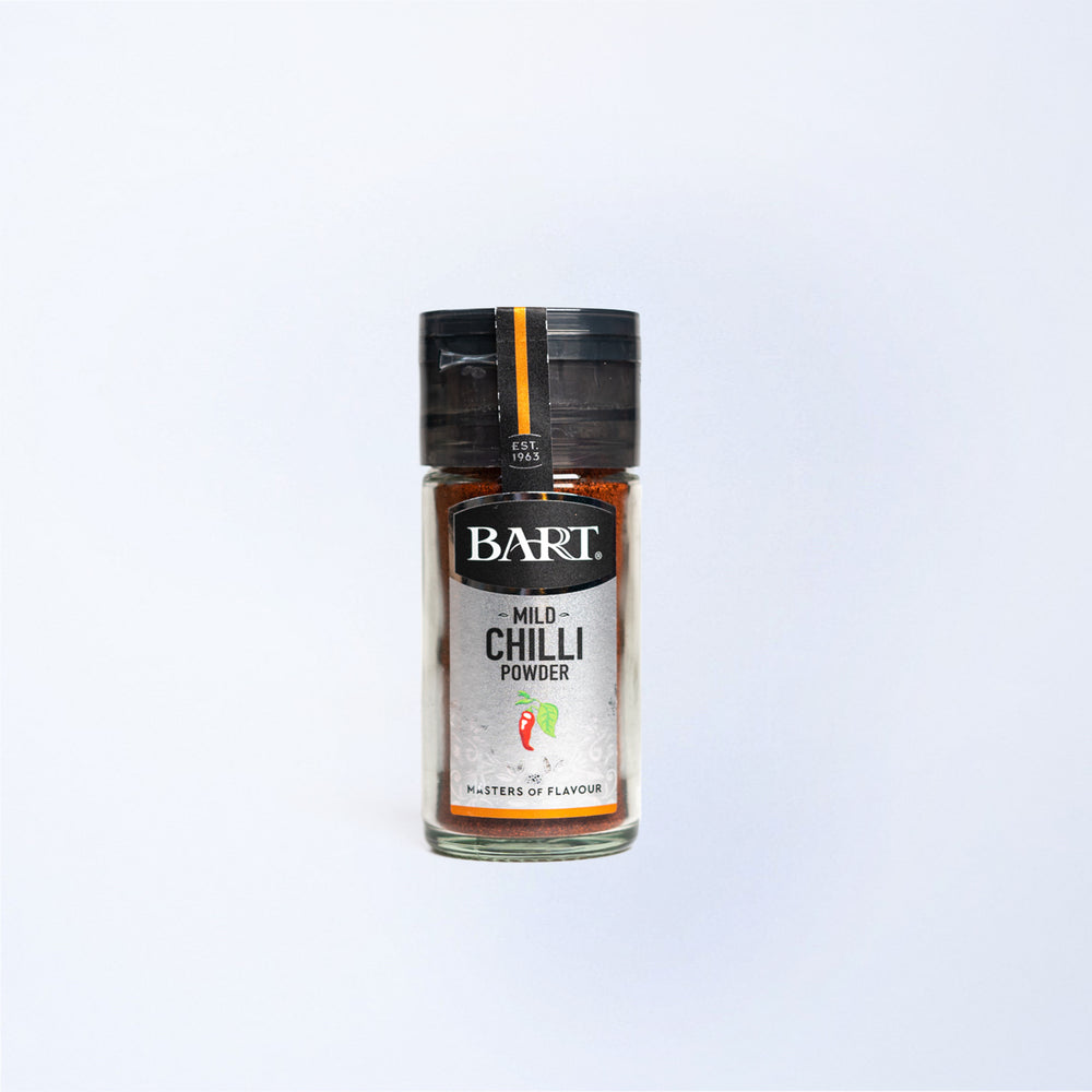 A glass jar of Bart Mild Chilli Powder 40g.