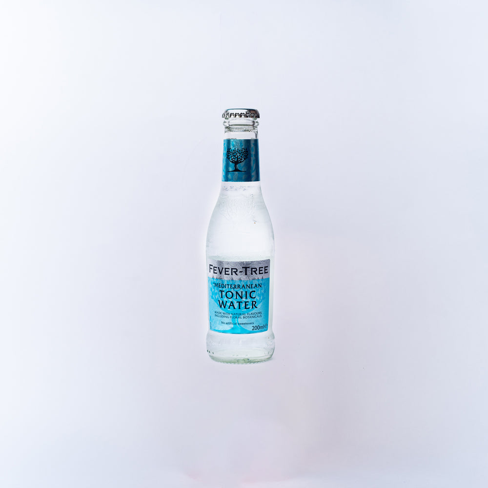 A bottle of Fever Tree Mediterranean Tonic Water.