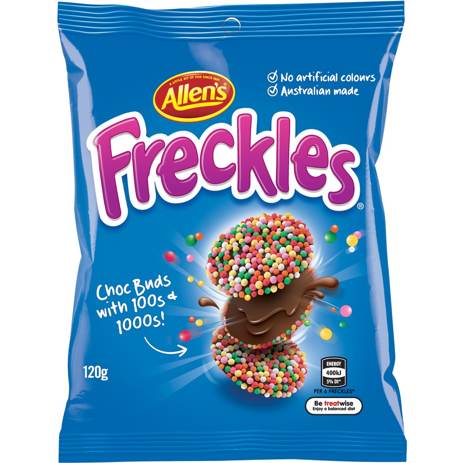 a 120g bag of Allen's Freckles candies
