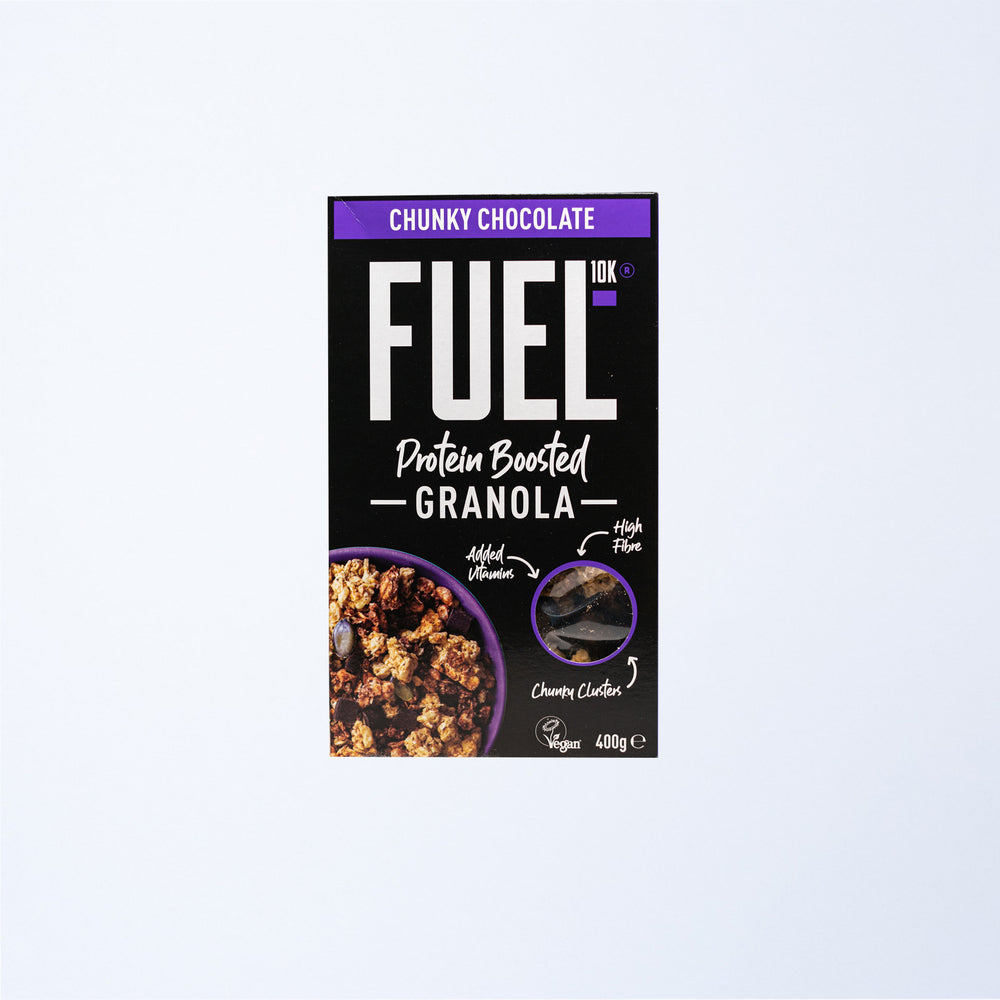 A box of FUEL10K Chocolate Granola.