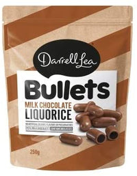 Darrell Lea Milk Chocolate Liquorice Bullets 250g
