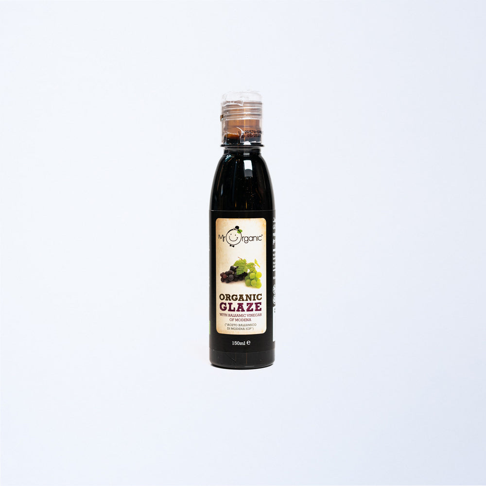 A squeeze bottle of Mr Organic Balsamic Glaze.