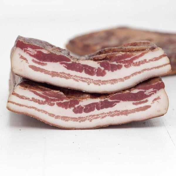 Three pieces of pancetta.