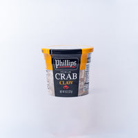 A plastic tub of 	 Phillips Blue Swimmer Crab Claw Meat 227g .
