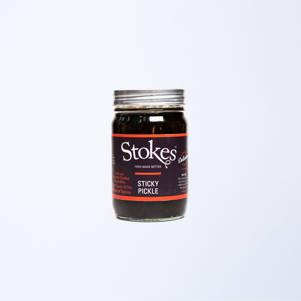 A jar of Stokes Sticky Pickle.