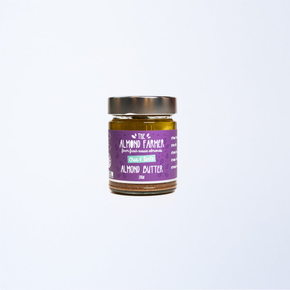 A glass jar of The Almond Farmer Chia & Date Almond Butter 250g.