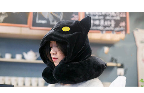 Cat Neck Hoodie Pillow - Gifts On The Tree