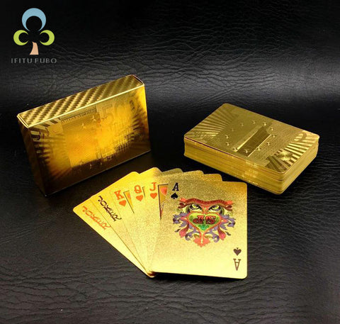 Gold Foil Plastic Playing Cards - Gifts On The Tree