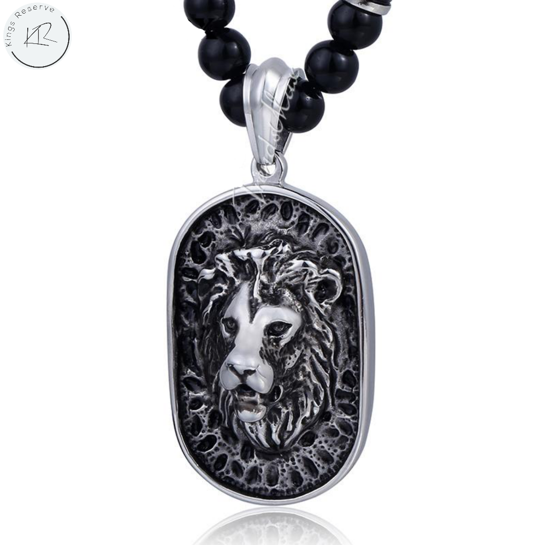 Black Glass Bead Link Chain Stainless Steel Lion Pendant Necklace w/ Black Rhinestones 70.6 cm - Kings-Reserve