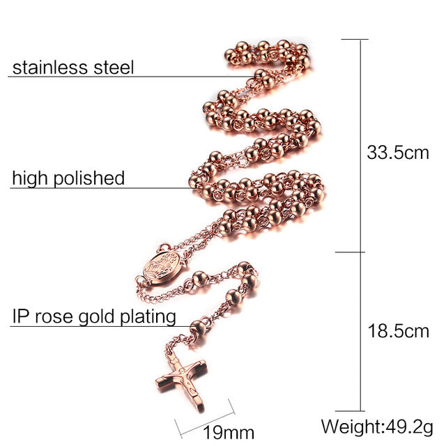 Rosary Jesus On The Cross Pendant Long Necklace 6.0mm Beads Stainless Steel Jewelry - Kings-Reserve