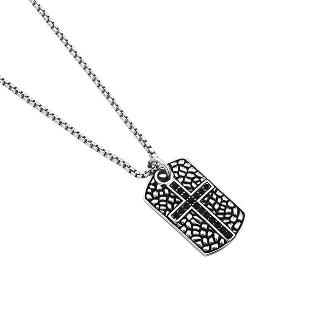 Dog Tag Cross Pendant with Stainless Steel Box Chain - Kings-Reserve