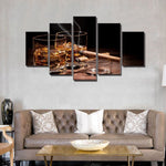 Kings Reserve - Home Decor Canvas 5 Panel Wall Art Modern Cigar and Wine Painting - Kings-Reserve