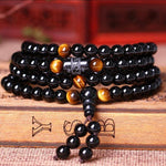Black 108 Prayer Beads Tiger Eye Stone Bracelet Necklace Crystal Strand Mala Rosary Buddhist Buddha Lover Lucky Amulet Jewelry - Kings-Reserve
