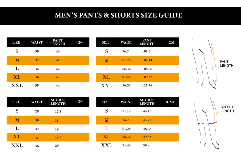 Men Shorts & Pants Size Chart