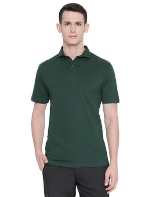 Men Dark Green Solid Winter Polo T-shirt-A10118GN