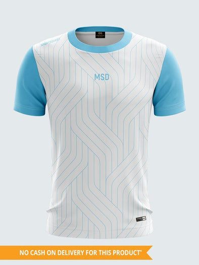 Custom Men White & Light Blue Printed Round Neck Sports T-shirt-1336C-LB