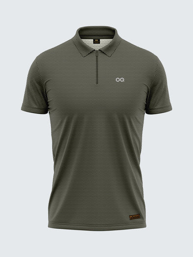 Men's Light Grey Two-Tone Active Polo Zipper T-shirt - 1877GY