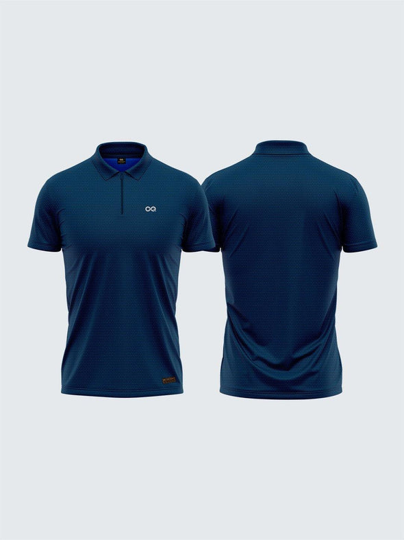 Men's Navy Blue Two-Tone Active Polo Zipper T-shirt - 1878NB - Sportsqvest