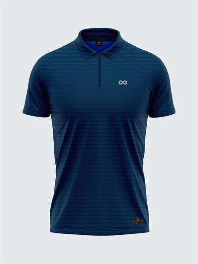 Men's Navy Blue Two-Tone Active Polo Zipper T-shirt - 1878NB