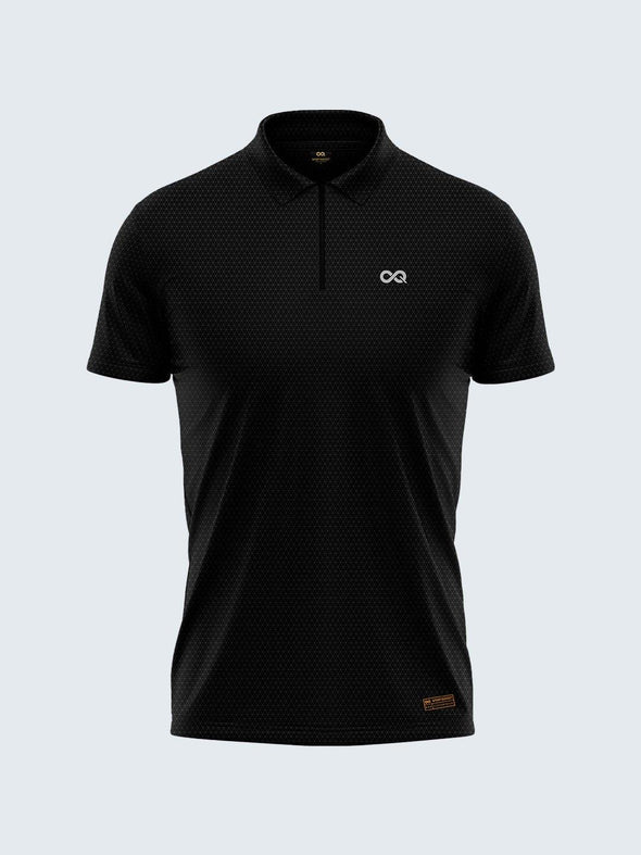 Men's Black Self Diamond Active Polo Zipper T-shirt - 1881BK