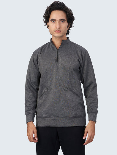 Men Melange Active Quarter-Zip Jacket - 1887GY