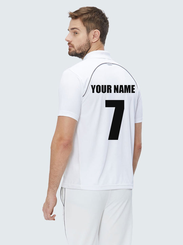 Customise Men Cricket Whites 2-Way Stretch with Black Pipping Solid Polo Jersey-1909CWJ