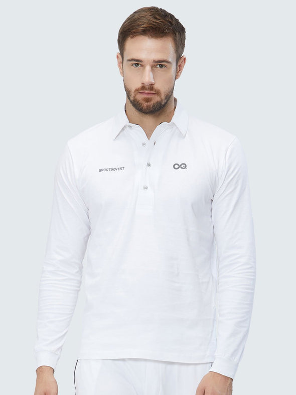 Customise Men Cricket Whites 2-Way Stretch Full Sleeves Solid Polo Jersey - 1910CWJ