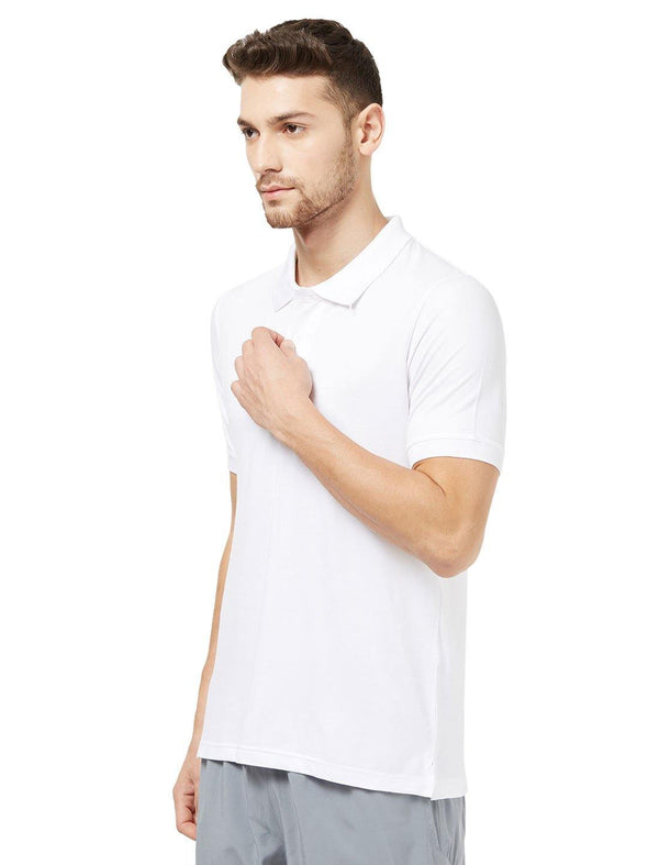 Men White Solid Golf Polo T-shirt-A1027WH - Sportsqvest