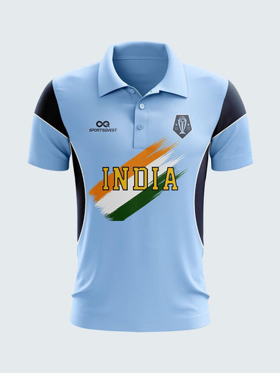 2003 India Retro World Cup Jersey Printed Polo T-shirt-2003-IN1028