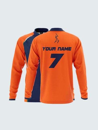 Customise 2019 India World Cup Orange Long Sleeve Fan Jersey-CIN1031 - Sportsqvest