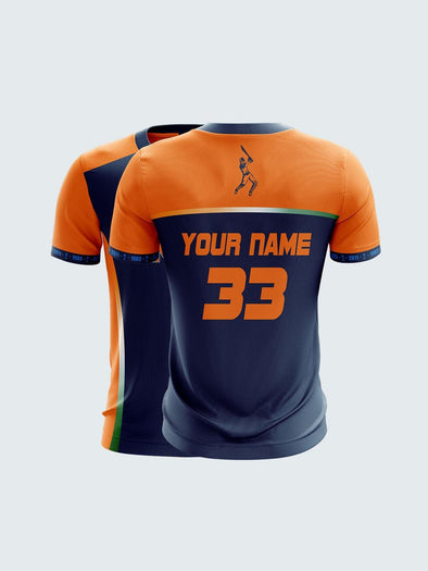 Customise 2019 Orange India Cricket Jersey Round Neck T-Shirt-CIN1029
