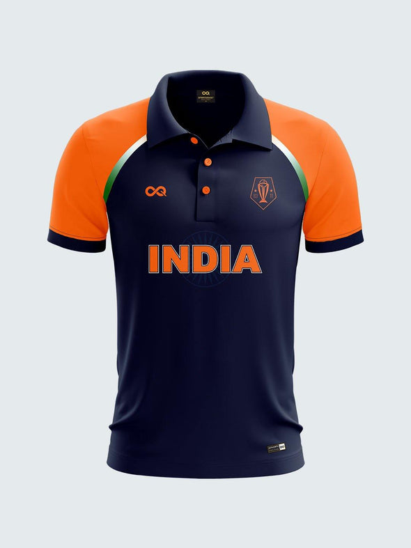 2019 India Cricket Orange Fan Printed Polo T-Shirt-IN1041