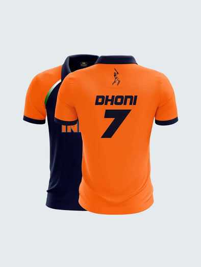 2019 India Cricket Dhoni Fan Jersey Printed Polo T-Shirt-IN1039 - Sportsqvest