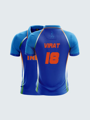 2019 India Cricket Virat Fan Jersey Printed Polo T-Shirt-IN1036